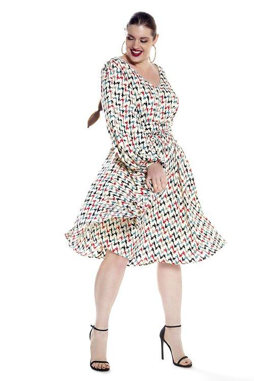 JIBRI Full Sleeved V Neck Print Dress