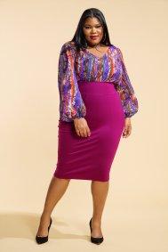JIBRI High Waist Raspberry Pencil Skirt